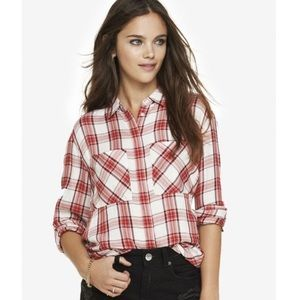 Express plaid button down shirt